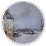 The Flood At Port Marly Round Beach Towel by Alfred Sisley