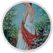 The Florist In A Red Kerchief Round Beach Towel