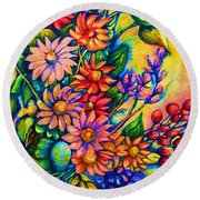The Flower Dance Round Beach Towel