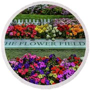 The Flower Field Round Beach Towel