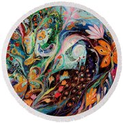 The Flowers And Sea Round Beach Towel