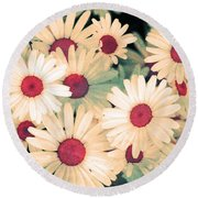 The Flowers At 5 Am Round Beach Towel