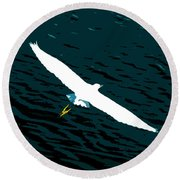 The Flying Egret Round Beach Towel