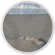 The Footprint Of Invisible Man The Sand And The Sea Round Beach Towel