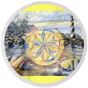 The Forces Of Thought Round Beach Towel