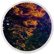 The Forest At Dusk Round Beach Towel