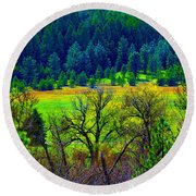 The Forest Echoes With Laughter 2 Round Beach Towel