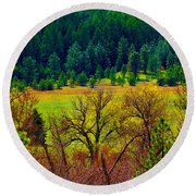 The Forest Echoes With Laughter Round Beach Towel