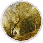 The Forest Of Coubron Round Beach Towel