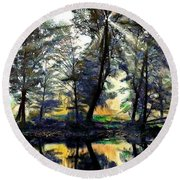 The Forests Of Avalon Round Beach Towel