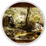 The Forgotten Watermill Wheel Round Beach Towel