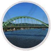 The Fort Henry Bridge - Wheeling West Virginia Round Beach Towel