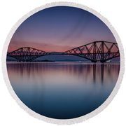 The Forth Bridge Before Sunrise Round Beach Towel