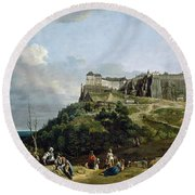 The Fortress Of Konigstein Round Beach Towel