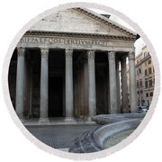 The Fountain In Front Of Pantheon Round Beach Towel