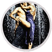 The Fountain Of Tango Round Beach Towel