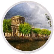 The Four Courts In Reconstruction 2 Round Beach Towel
