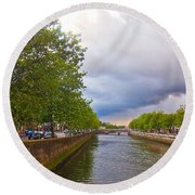 The Four Courts In Reconstruction 3 Round Beach Towel