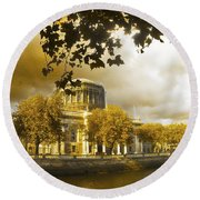 The Four Courts In Reconstruction Sepia Round Beach Towel