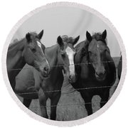 The Four Horses Round Beach Towel