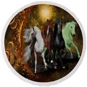 The Four Horses Of The Apocalypse Round Beach Towel
