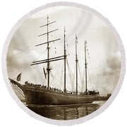The Four-masted Barkentine  Jane Stanford Built By Hans Bendixse 1892 Round Beach Towel