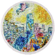 The Four Seasons Chicago Portrait Round Beach Towel