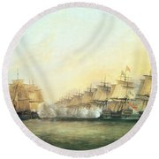 The Fourth Action Off Trincomalee Between The English And The French Round Beach Towel
