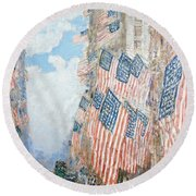 The Fourth Of July Round Beach Towel by Childe Hassam