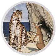 The Fox And The Leopard Round Beach Towel