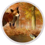 The Fox And The Turtle Round Beach Towel