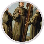 The Franciscan Martyrs In Japan Round Beach Towel by Don Juan Carreno de Miranda