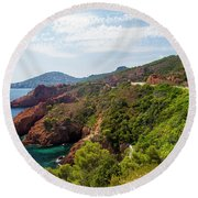 The French Riviera  Round Beach Towel