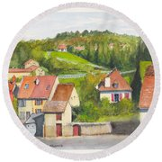 The French Village Of Billy In The Auvergne Round Beach Towel
