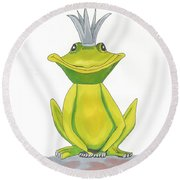 The Frog King Round Beach Towel