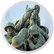 The Front Up Close -- The Iwo Jima Monument Round Beach Towel