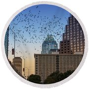 The Frost Bank Tower Stands Guard As 1.5 Million Mexican Free-tail Bats Overtake The Austin Skyline As They Exit The Congress Avenue Bridge Round Beach Towel