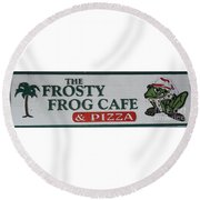 The Frosty Frog Cafe Sign Round Beach Towel