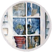 The Frosty Peep Hole Round Beach Towel by Mindy Newman