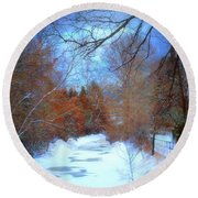 The Frozen Creek Round Beach Towel