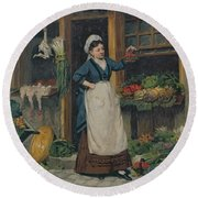 The Fruit Seller Round Beach Towel by Victor Gabriel Gilbert