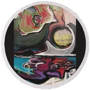The Full Moon2 Round Beach Towel