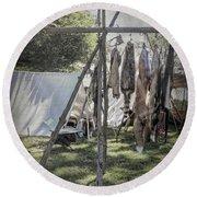 The Fur Trader's Camp 1812 Round Beach Towel