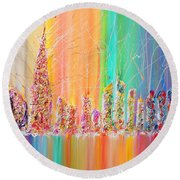 The Future City Abstract Painting  Round Beach Towel by Julia Apostolova