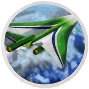 The Future Of Air Transportation Round Beach Towel