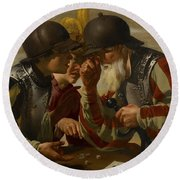 The Gamblers Round Beach Towel by Hendrick Ter Brugghen