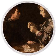 The Gamblers Round Beach Towel by Michelangelo Caravaggio