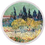 The Garden At Arles  Round Beach Towel by Vincent Van Gogh