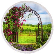 The Garden At The Winery Round Beach Towel