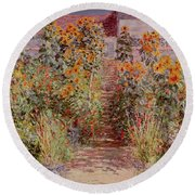 The Garden At Vetheuil Round Beach Towel